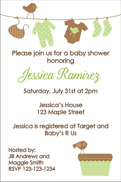 Baby Laundry Clothes Line Baby Shower Invitation - Green