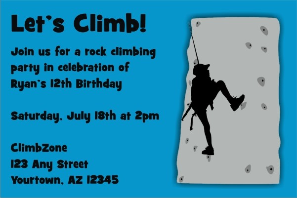 Rock Climbing Invitation ALL COLORS Personalized Party Invites