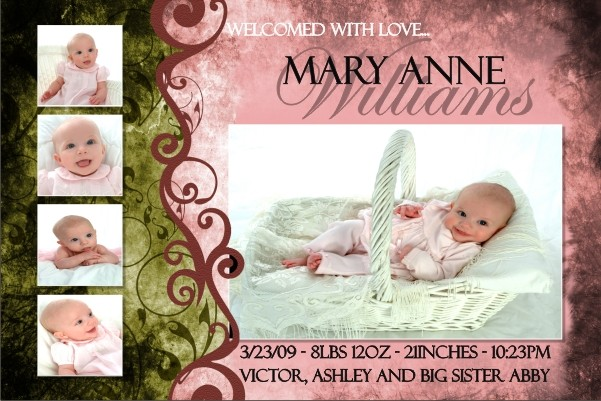 Newborn Baby Birth Announcement 3 (pink)