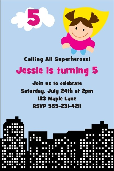 Superhero Birthday Invitation 4 - Girl