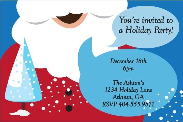 Santa's Beard Christmas Holiday Party Invitation
