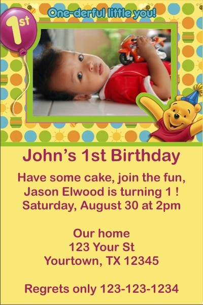 winnie the pooh first birthday photo invitation