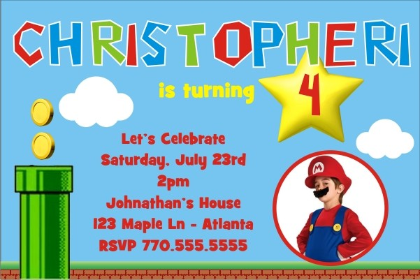 Super Mario Inspired Photo Invitation