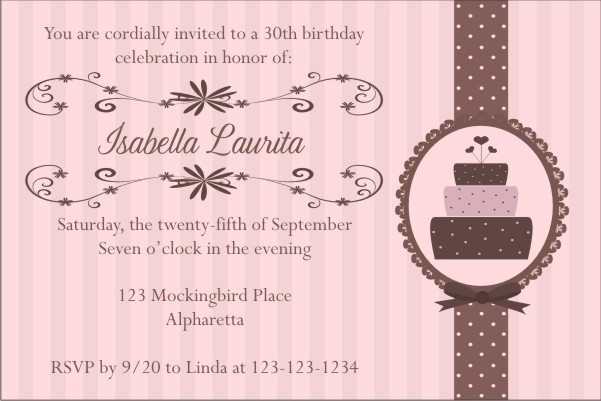 Pink Brown Birthday Cake Invitation