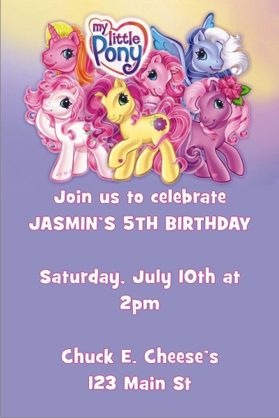 My Little Pony Photo Invitation Personalized Party Invites – My Little Pony Personalized Birthday Invitations