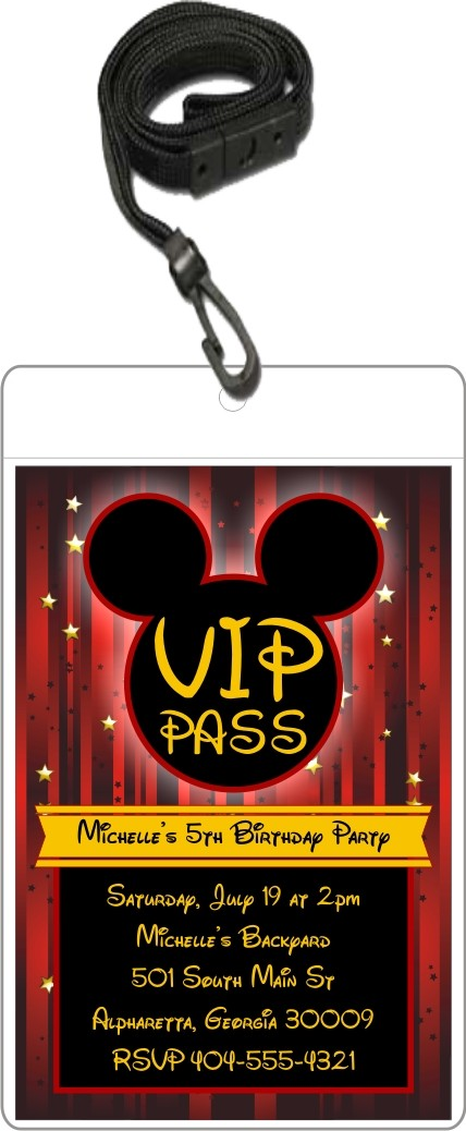 Mouse VIP Pass Invitation w Lanyard - Mickey Mouse Inspired