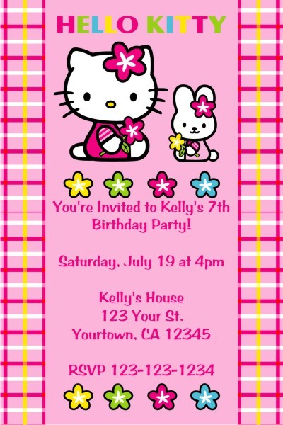 Hello Kitty Invitations Hello Kitty and Bunny Personalized Party – Personalized Hello Kitty Birthday Invitations