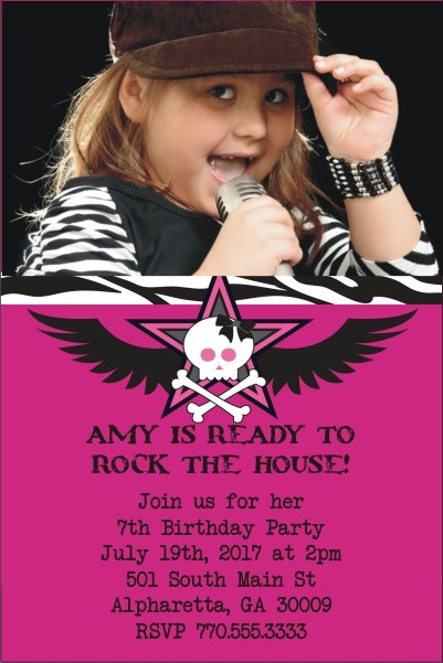 Rock Star Photo Invitation - Pink