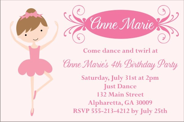 Pretty Ballerina Ballet Invitation - Select a Dancer