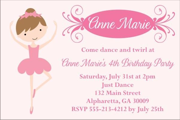 Pretty Ballerina Ballet Invitation Select A Dancer Personalized