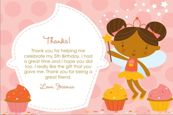 Cupcake Fairy Princess Thank You Card Pink Delight Personalized