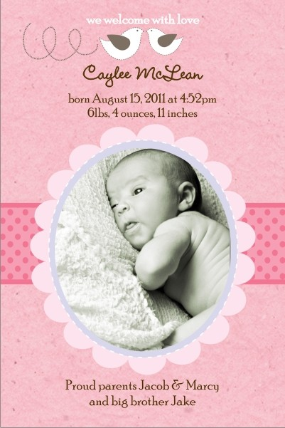 Little Birds Pink Girl Photo Birth Announcement Card