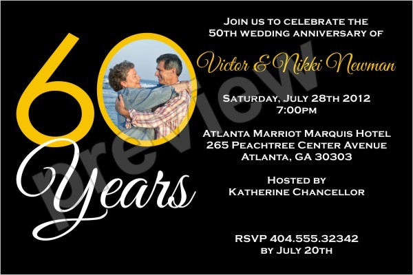 60 years 60th wedding anniversary photo invitation