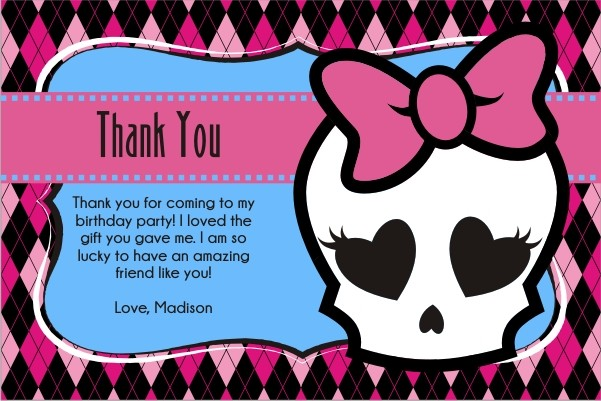 monster high thank you card