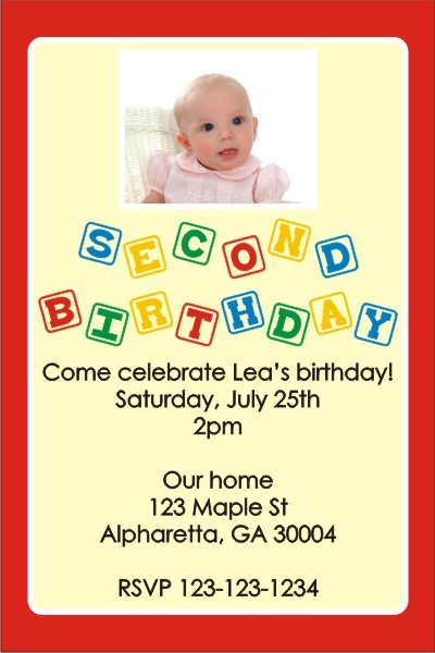 2nd Second Birthday Photo Invitation Blocks ALL COLORS