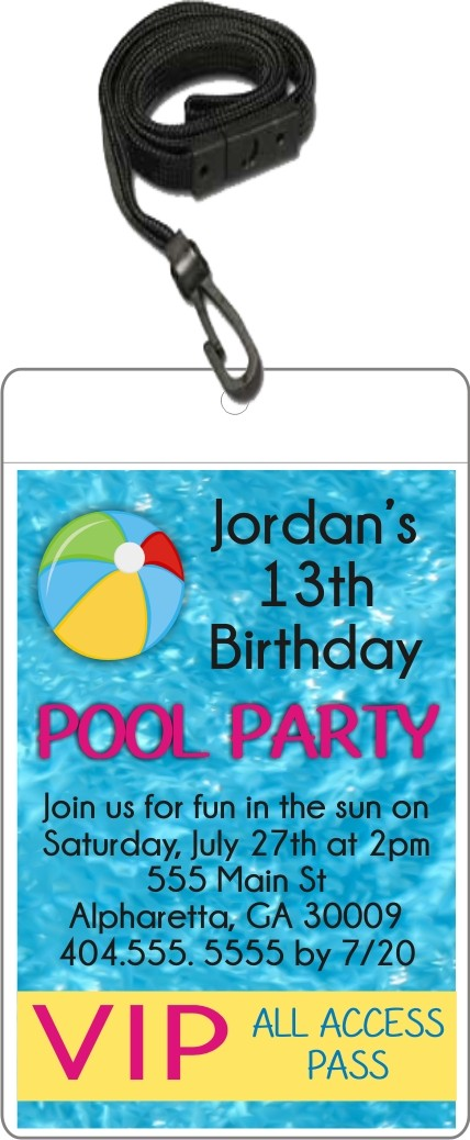 Pool Party VIP Pass Invitation With Lanyard Custom Colors