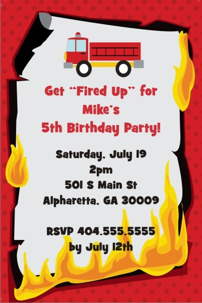 Fired Up Fire Truck Firefighter Invitation Personalized Party Invites – Fire Truck Birthday Invitation