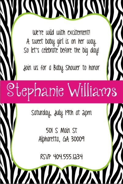 Zebra Stripes Print Birthday Party Invitation