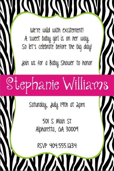 quirky zebra stripe print invitation