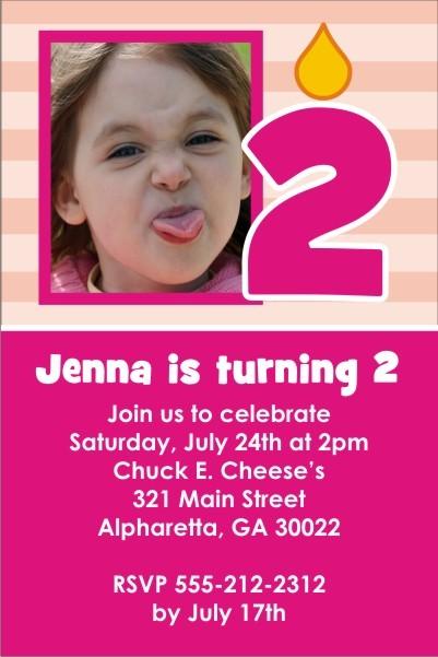 Photo Invitation 31 - Make a Birthday Wish Pink