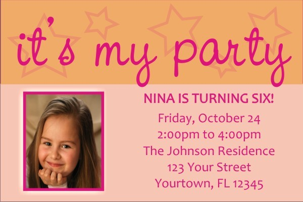 It's My Party Invitations (Pink and Orange)