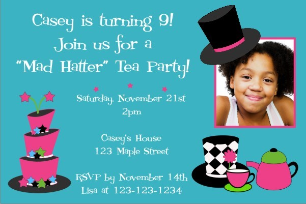Mad Hatter Tea Party Photo Invitation