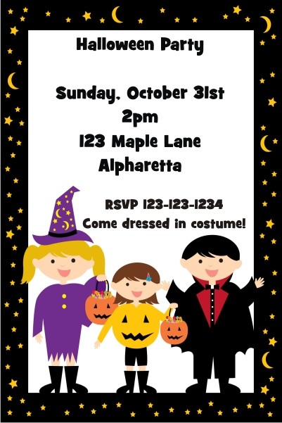 Kids in Costume Halloween Party Invitation