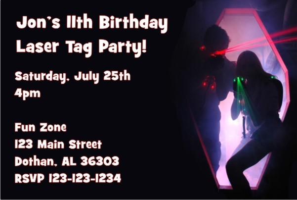 laser tag invitation personalized party invites