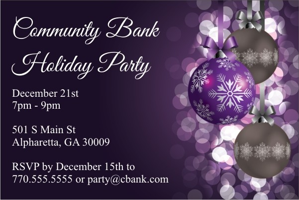 Purple Ornaments Holiday Party Invitation