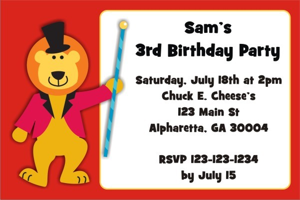 Circus Lion Invitation