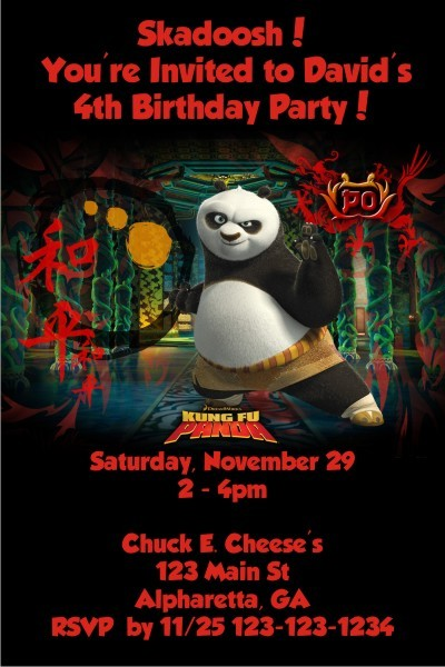 kung fu panda invitation personalized party invites