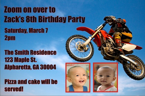Motocross Invitation with Optional Photo