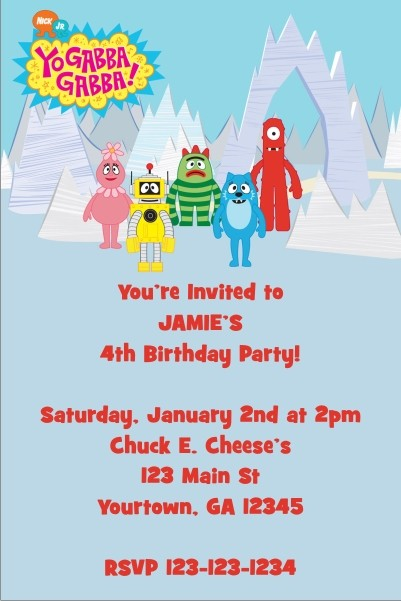 yo gabba gabba invitation personalized party invites