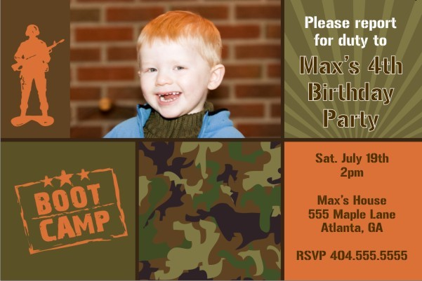 Army Military Boot Camp Photo Birthday Invitation