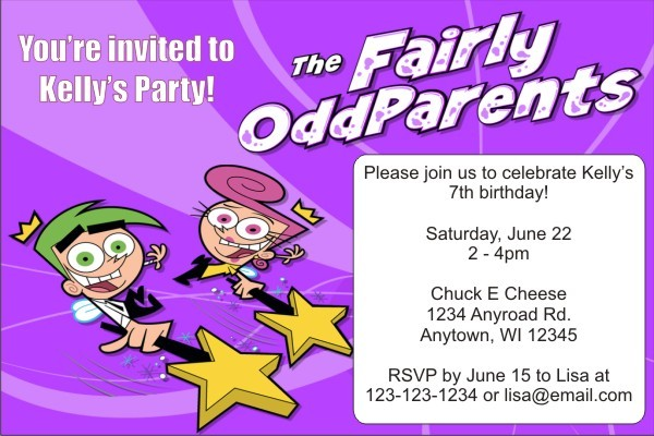 Fairly Odd Parents Invitations -Purple