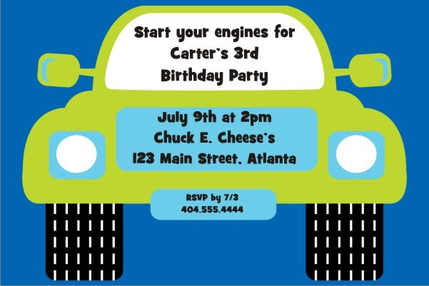 Monster Truck Invitation - Blue Green
