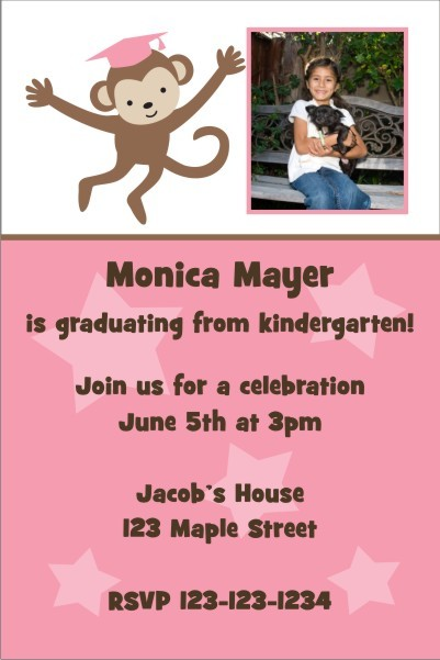 Graduation Monkey Photo Invitation - Pink
