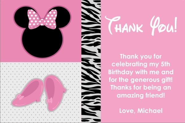 Pretty in Pink Mouse Thank You Card Similar to Minnie Mouse