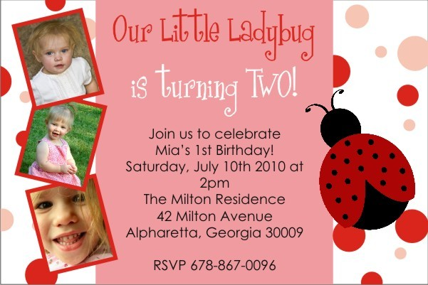Ladybug Birthday Invitation (with Optional Photo)