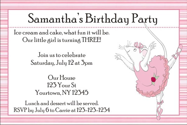 Angelina Ballerina Invitations Personalized Party Invites
