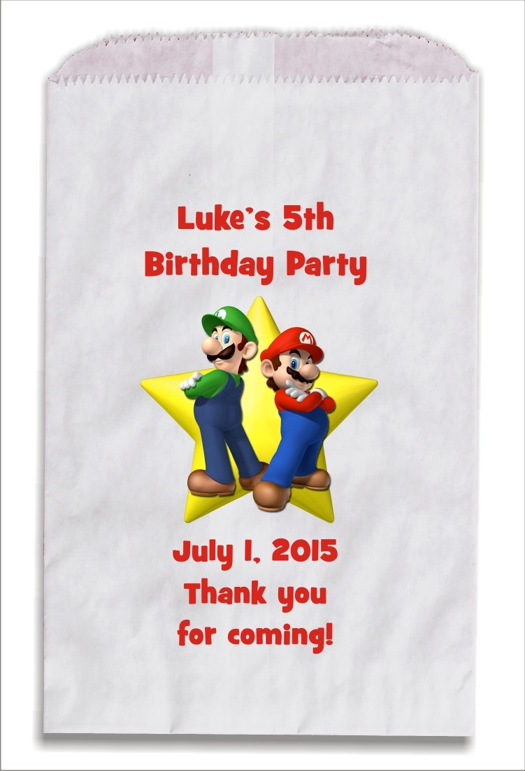 Super Mario Luigi Personalized Party Favor Bags 10 count
