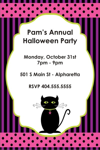 Spooky Kitty Halloween Party Invitation