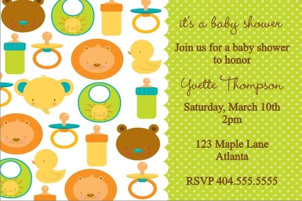 Baby Icons Baby Shower Invitation Personalized Party Invites