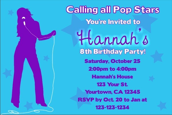 Pop Star Diva Invitation (No Photo)