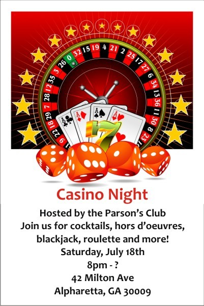 Casino Night Invitation Personalized Party Invites