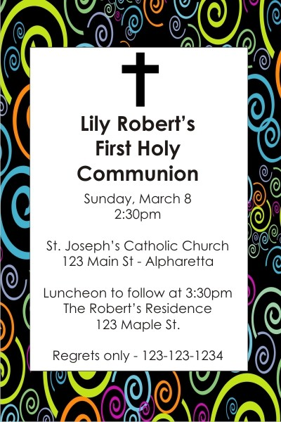 Communion / Baptism Invitation - Swirls