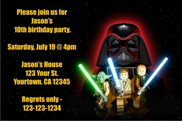 Star Wars Lego Invitations
