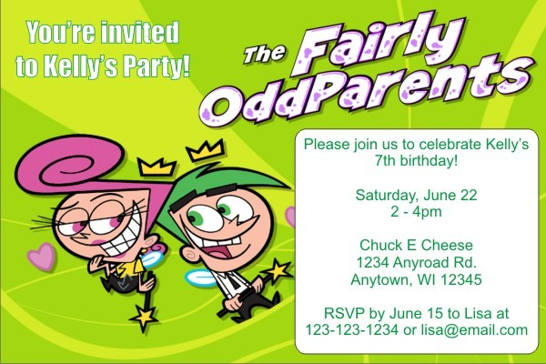Fairly Odd Parents Invitations - Green