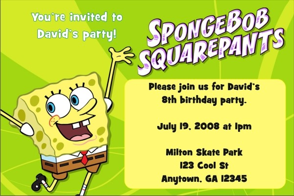 Spongebob Squarepants Invitations Personalized Party Invites