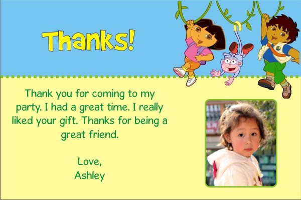 dora and diego thank you cards personalized party invites, Birthday card